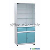 металлический медицинский шкаф со стеклом двухстворчатый